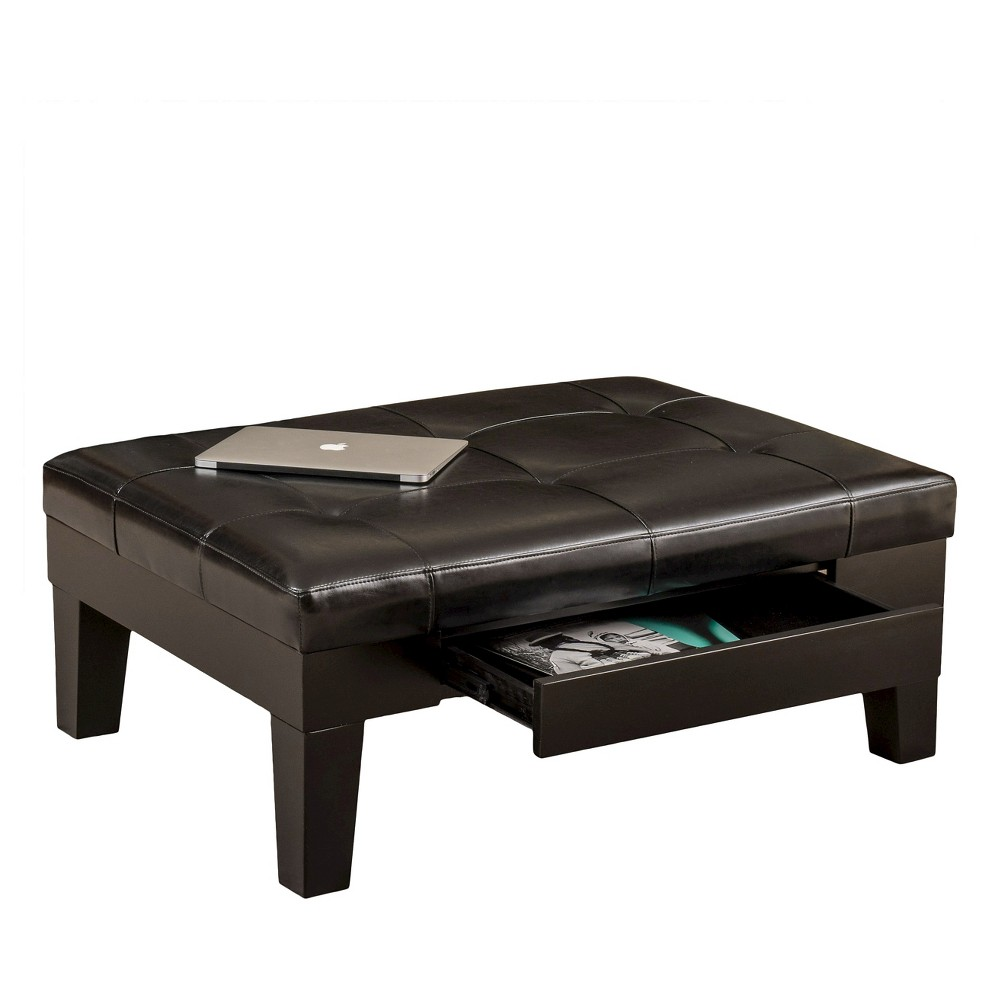 Chatham Bonded Leather Storage Ottoman Black - Christopher Knight Home