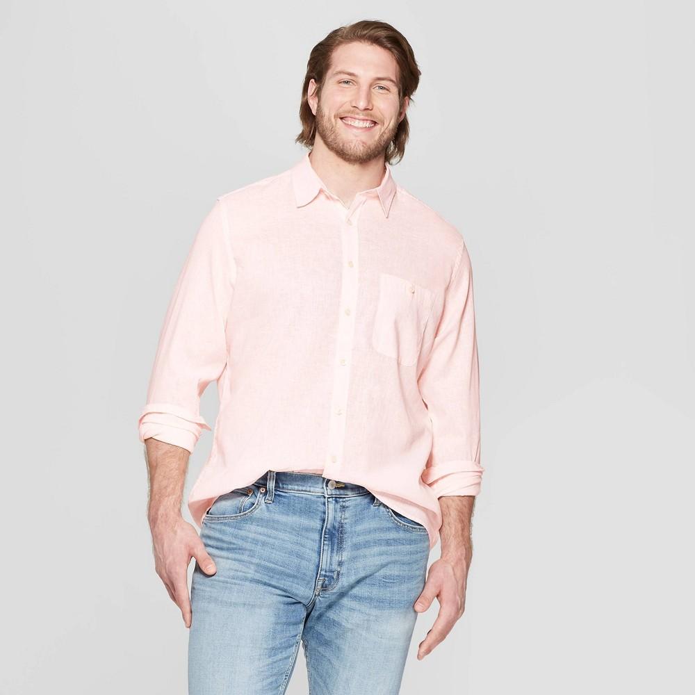 Men's Big & Tall Long Sleeve Linen Cotton Button-Down Shirt - Goodfellow & Co Dusk Pink 4XB