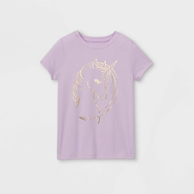 Girls' Shine Unicorn Graphic Short Sleeve T-Shirt - Cat & Jack™ Light Purple
