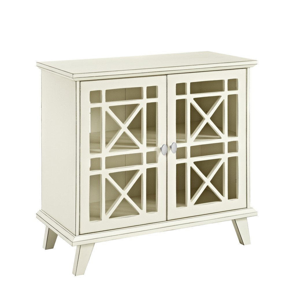 "Image of ""32"""" Gwen Fretwork Accent Console Antique White - Saracina Home"""