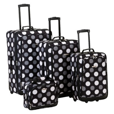 Rockland Escape 4pc Expandable Luggage Set - Black/White Dot