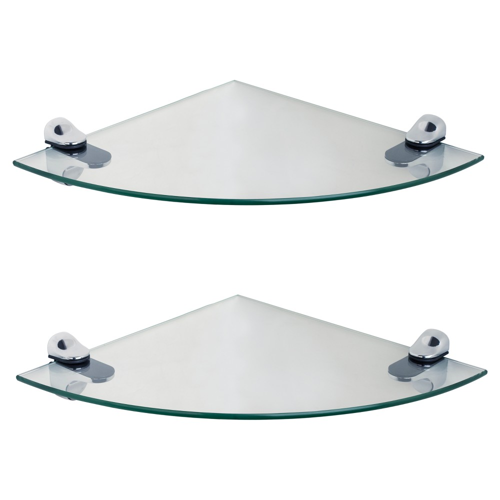 "Image of ""10"""" x 10"""" 2pc Glass Radial Floating Shelves with Brackets Clear/Silver - Danya B., Clear Silver"""