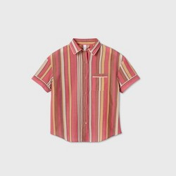 Women's Striped Simply Cool Short Sleeve Button-Up Shirt - Stars Above™ Burgundy