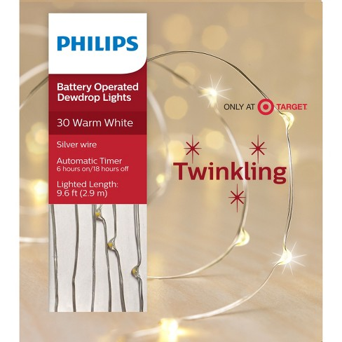 philips 30ct christmas led dewdrop lights battery operated warm white twinkle sw