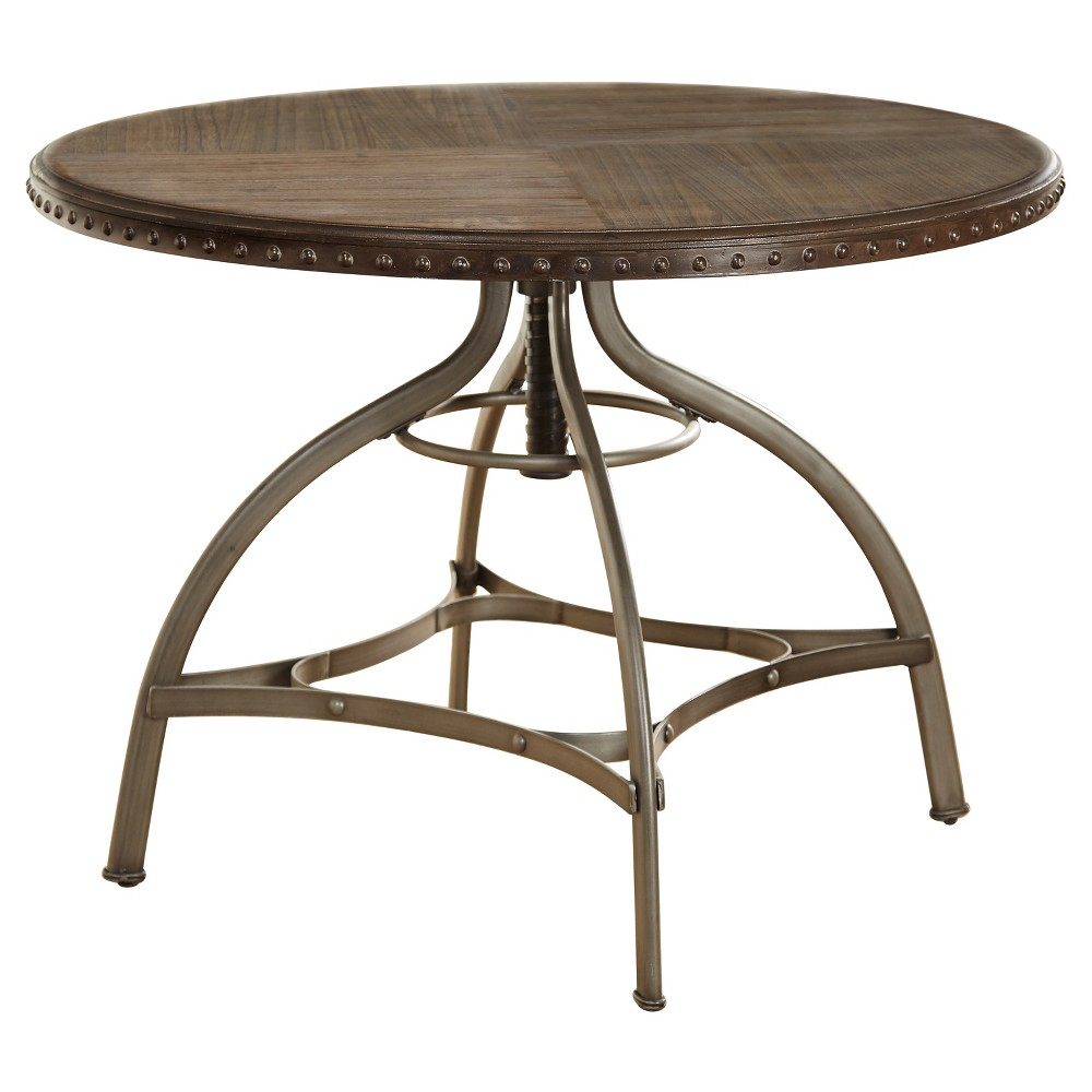 Fine Adjustable Height Dining Table With Nailhead Pewter Silver Andrewgaddart Wooden Chair Designs For Living Room Andrewgaddartcom