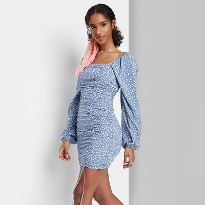Women's Puff Long Sleeve Double Ruched Dress - Wild Fable™
