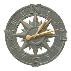 Whitehall 1297 Compass Rose 16 Inch Indoor Outdoor Wall Clock, Bronze Verdigris