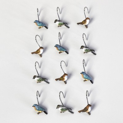 Lakeside Bluebird Shower Curtain Hooks for the Bathroom - Restroom Accents - Set of 12
