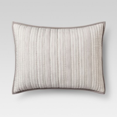 Gray Stitched Stripe Sham (Standard)- Threshold™
