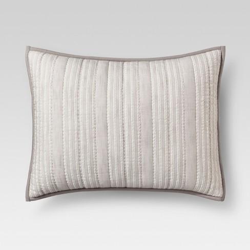 Gray Stitched Stripe Pillow Sham Threshold