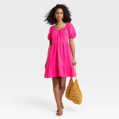 Women's Puff Short Sleeve Tiered Babydoll Dress - Universal Thread™