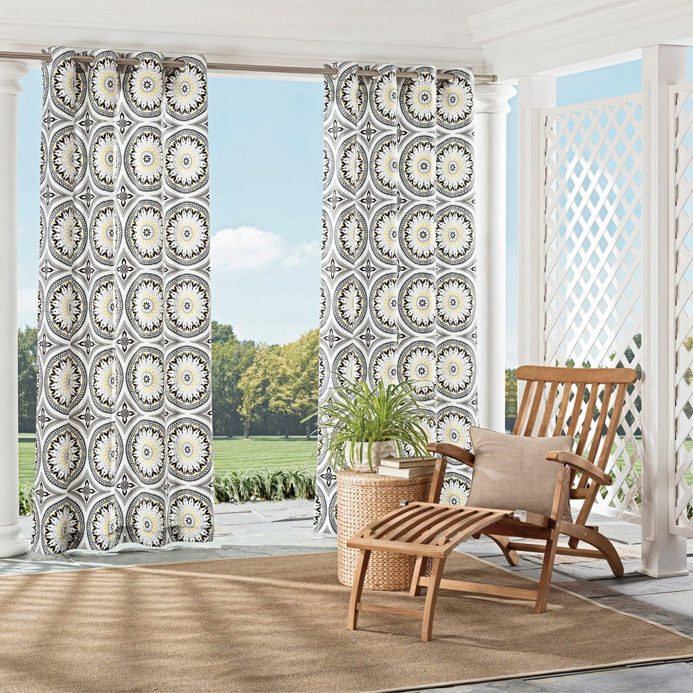 """Image of """"Cayman Indoor/Outdoor Curtain Panel Medallion Gray (52""""""""x95"""""""") - Parasol, White Gray"""""""