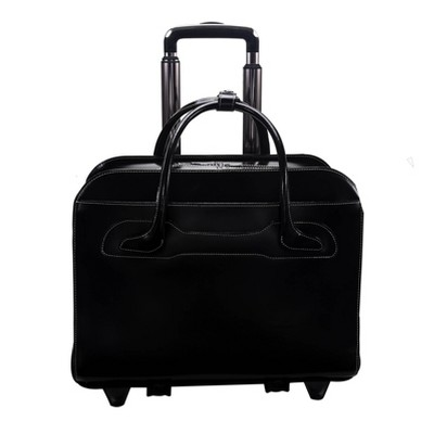"McKlein Willowbrook 15"" Leather Patented Detachable - Wheeled Ladies' Laptop Briefcase (Black)"