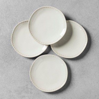 4pk Appetizer Plate with Engraved Floral Border White - Hearth & Hand™ with Magnolia