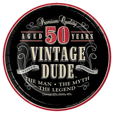 "Vintage Dude 50th Birthday 7"" Dessert Plates - 8ct"