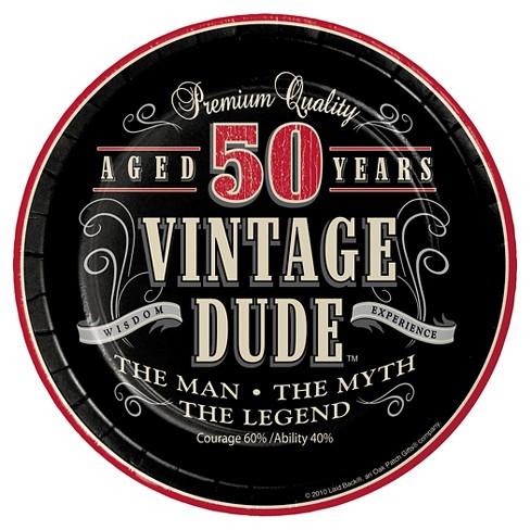 Vintage Dude 50th Birthday 7 Dessert Plates