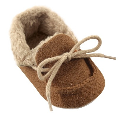 Luvable Friends Baby Unisex Moccasin Shoes, Chestnut
