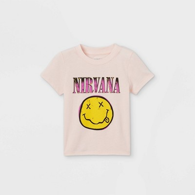 Toddler Girls' Nirvana Short Sleeve Graphic T-Shirt - Pink