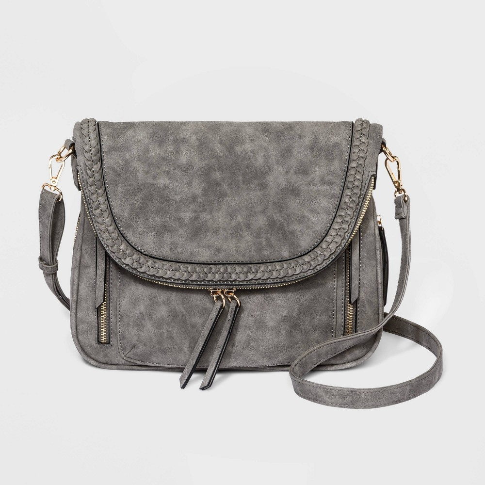 Vr Nyc Magnetic Closure Braid Crossbody Bag Gray