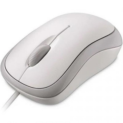 Microsoft Mouse White - Wired USB - Optical - 800 dpi - 3 Button(s) - Use in Left or Right Hand