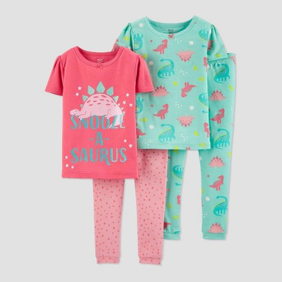 Baby Girls' 4pc Dino 100% Cotton Pajama Set - Just One You® made by carter's Pink/Blue 9M