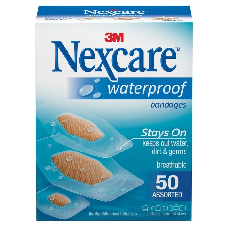 Nexcare Waterproof Bandages, Clear, Assorted, 50 ct - image 1 of 8