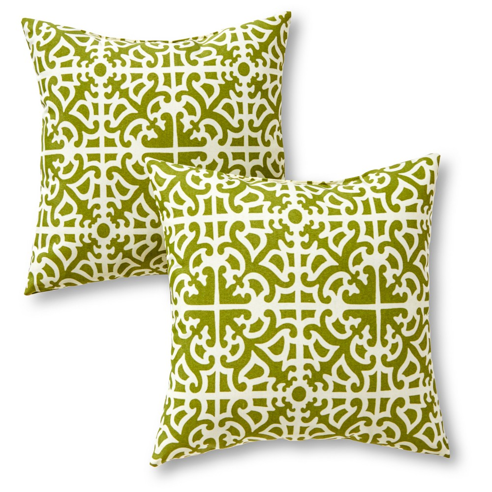 Image of Greendale Home Fashions Set of 2 Square Outdoor Accent Pillows - Grass, Grass Green
