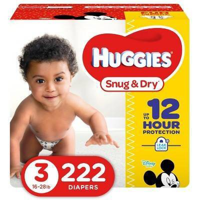 Huggies Snug & Dry Diapers - Size 3 (222ct)