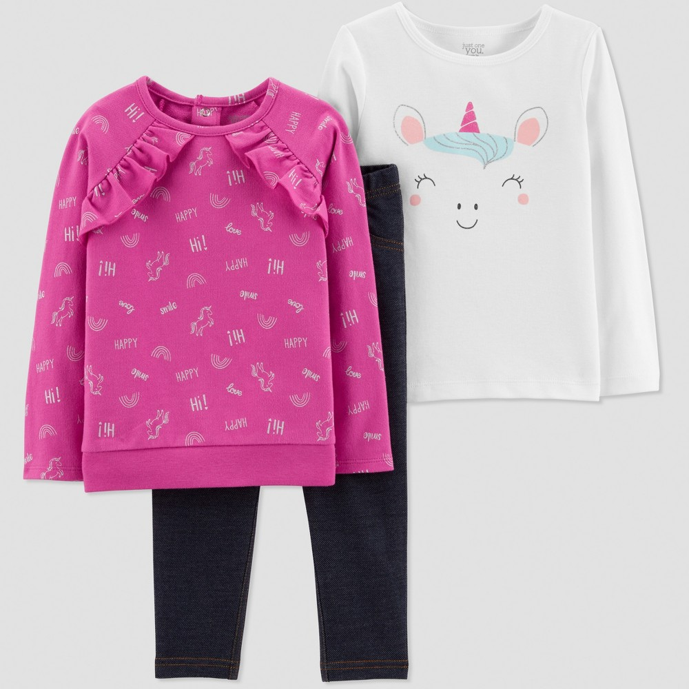 Toddler Girls' 3pc French Terry Unicorn Set - Just One You made by carter's Purple/Navy Blue/White 4T