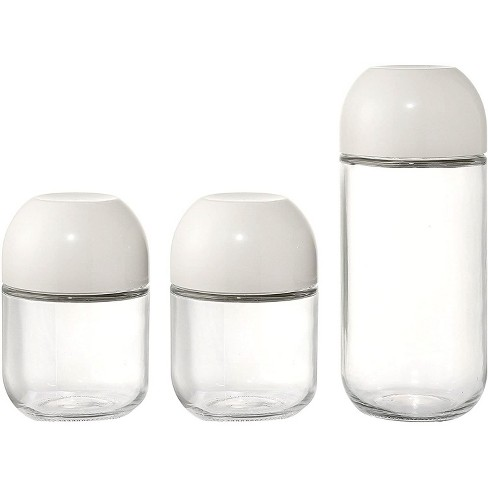 Juvale 3-Pack 15oz/30.5oz Round Glass Food Storage Kitchen Canister sets with Screw Top Lids, Clear/White - image 1 of 1