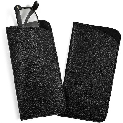 Zodaca 2-Pack Black Eyeglass Pouch, Portable Faux Leather Sunglass Cases  (6.3 x 3.3 Inches)