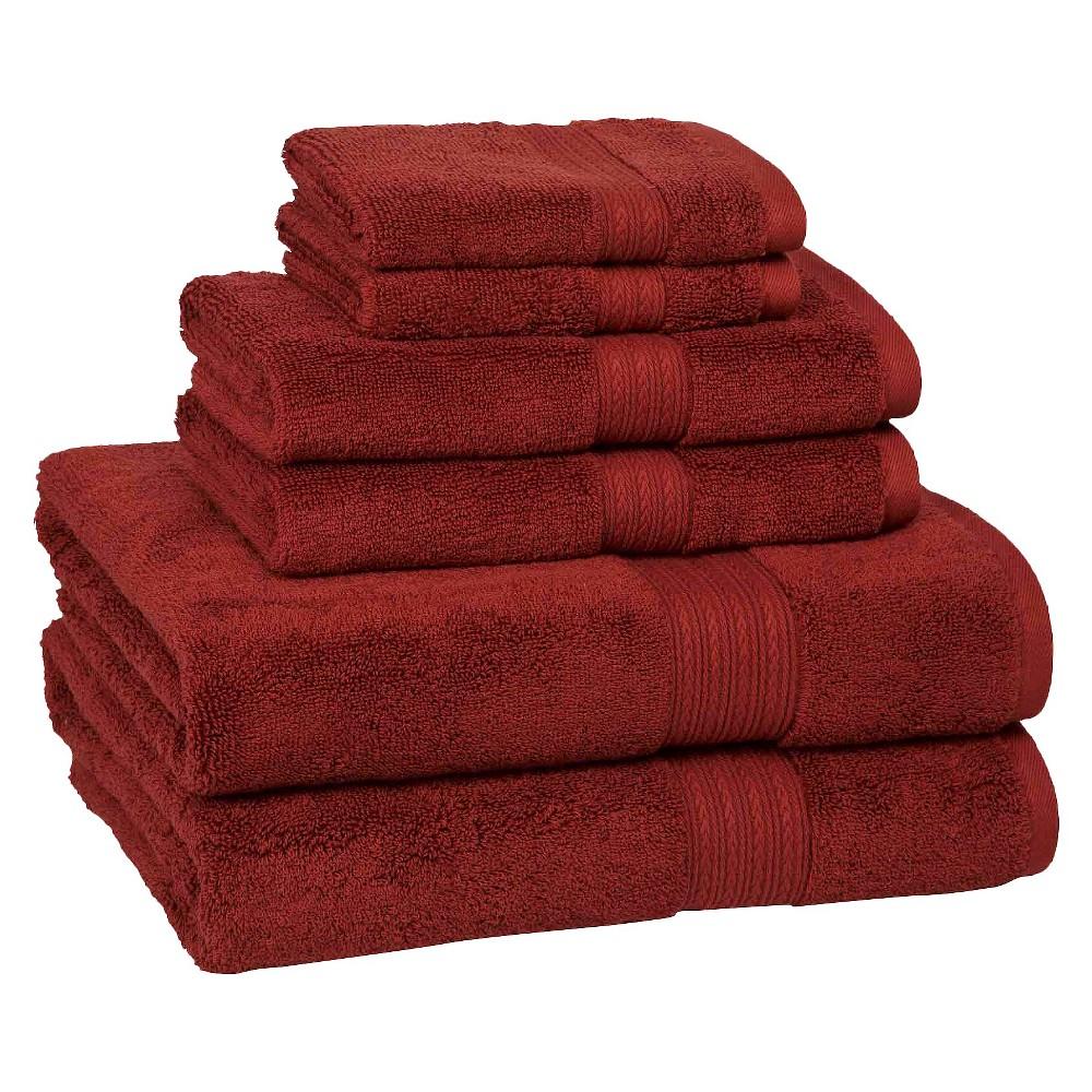 6pc Signature Solid Bath Towel Set Red Cassadecor