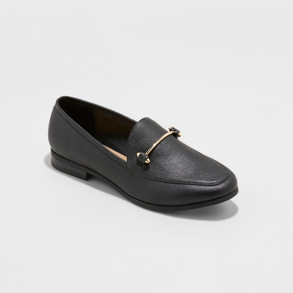 Women's Perry Wide Width Metallics Loafers - A New Day Black 10W, Size: 10 Wide