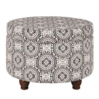 Medallion Pattern Fabric Upholstered Storage Ottoman with Wooden Bun Feet Cream/Black - Benzara