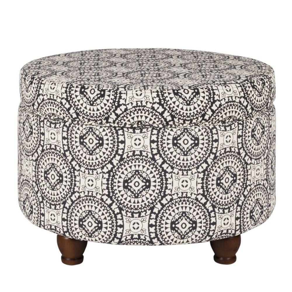 Medallion Pattern Fabric Upholstered Storage Ottoman With Wooden Bun Feet Cream Black Benzara