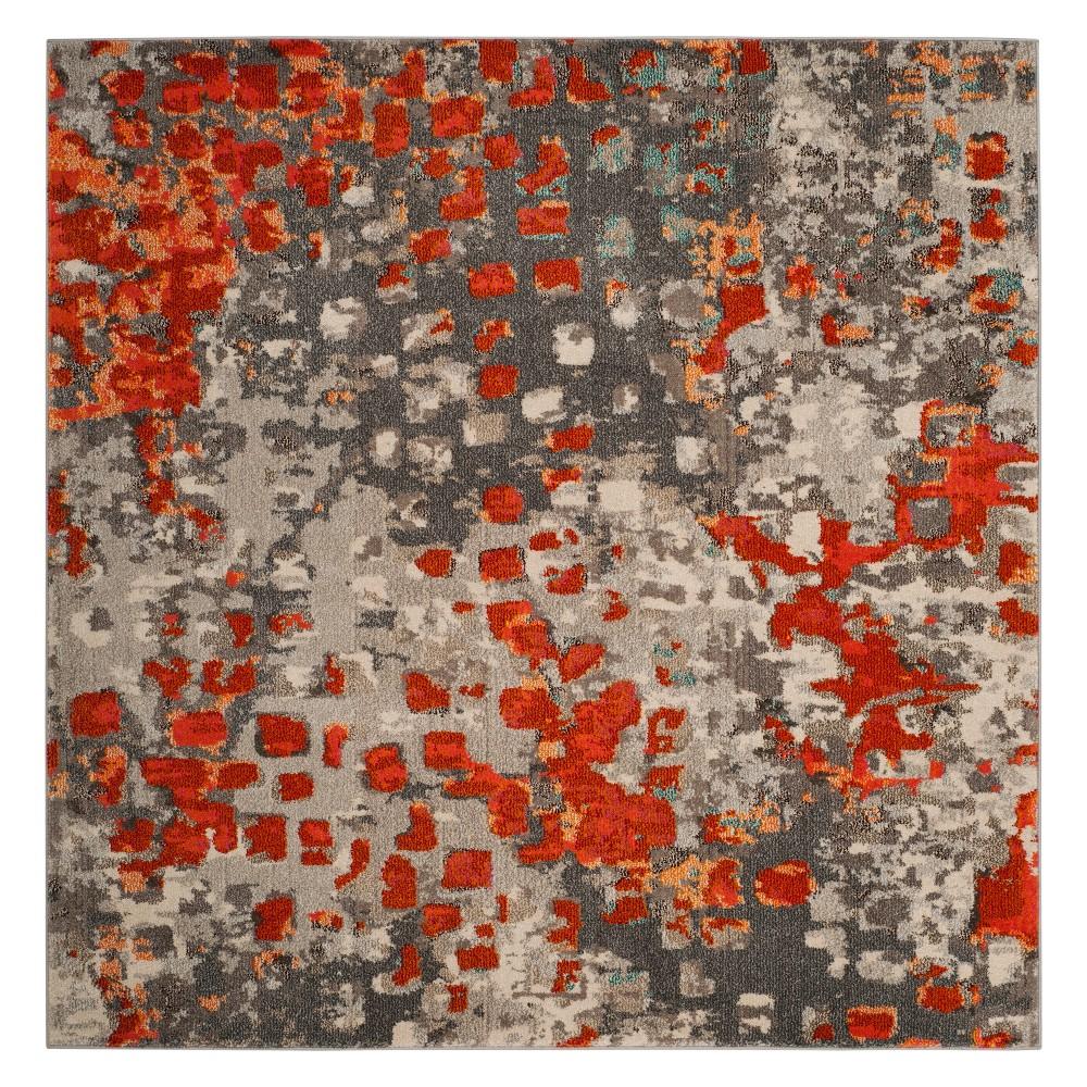 5'X5' Shapes Square Area Rug Gray/Orange - Safavieh