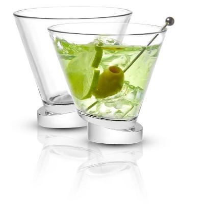 JoyJolt Aqua Vitae Round Martini Glass - Set of 2 Crystal Cocktail Glasses with Off Set Base-7.2 oz