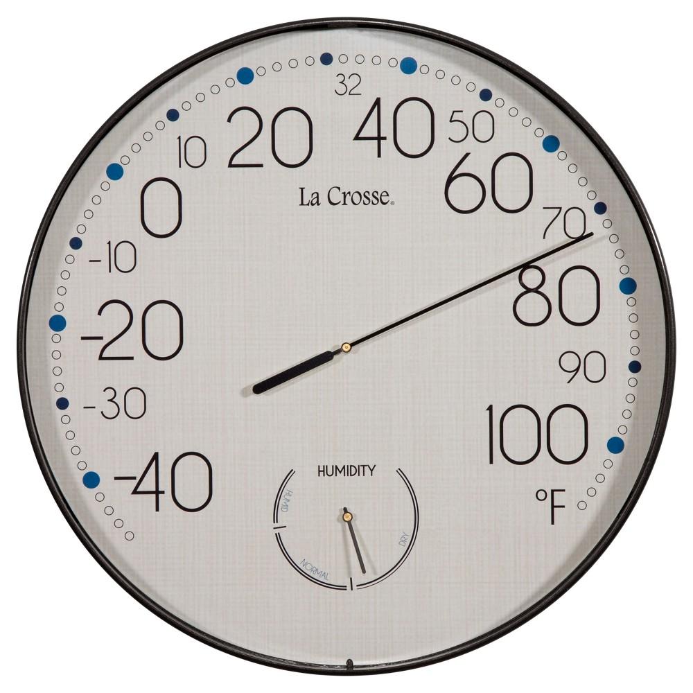 La Crosse 10-in Round Thermo-Hydro, Brown La Crosse 10-in Round Thermo-Hydro Color: Brown.