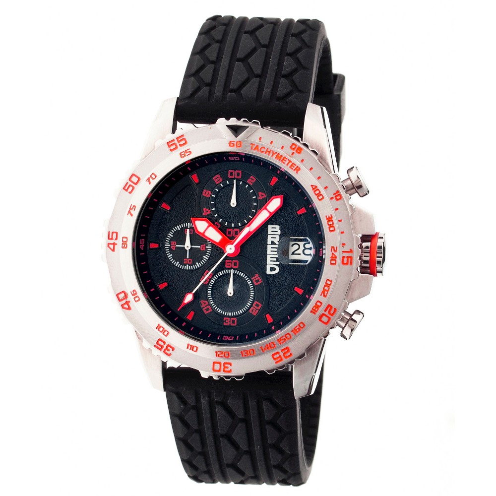 Men's Breed Socrates Full-Function Chronograph Silicone Strap Watch-Silver/Red, silver red