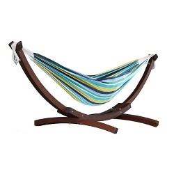 Vivere C8SPCT Double Cotton 2-Person Hammock with Solid Pine Stand, Cayo Reef