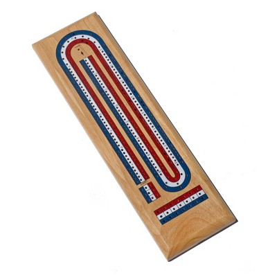 WE Games Classic Cribbage Set - Solid Wood TriColor Continuous 3 Track Board with Metal Pegs