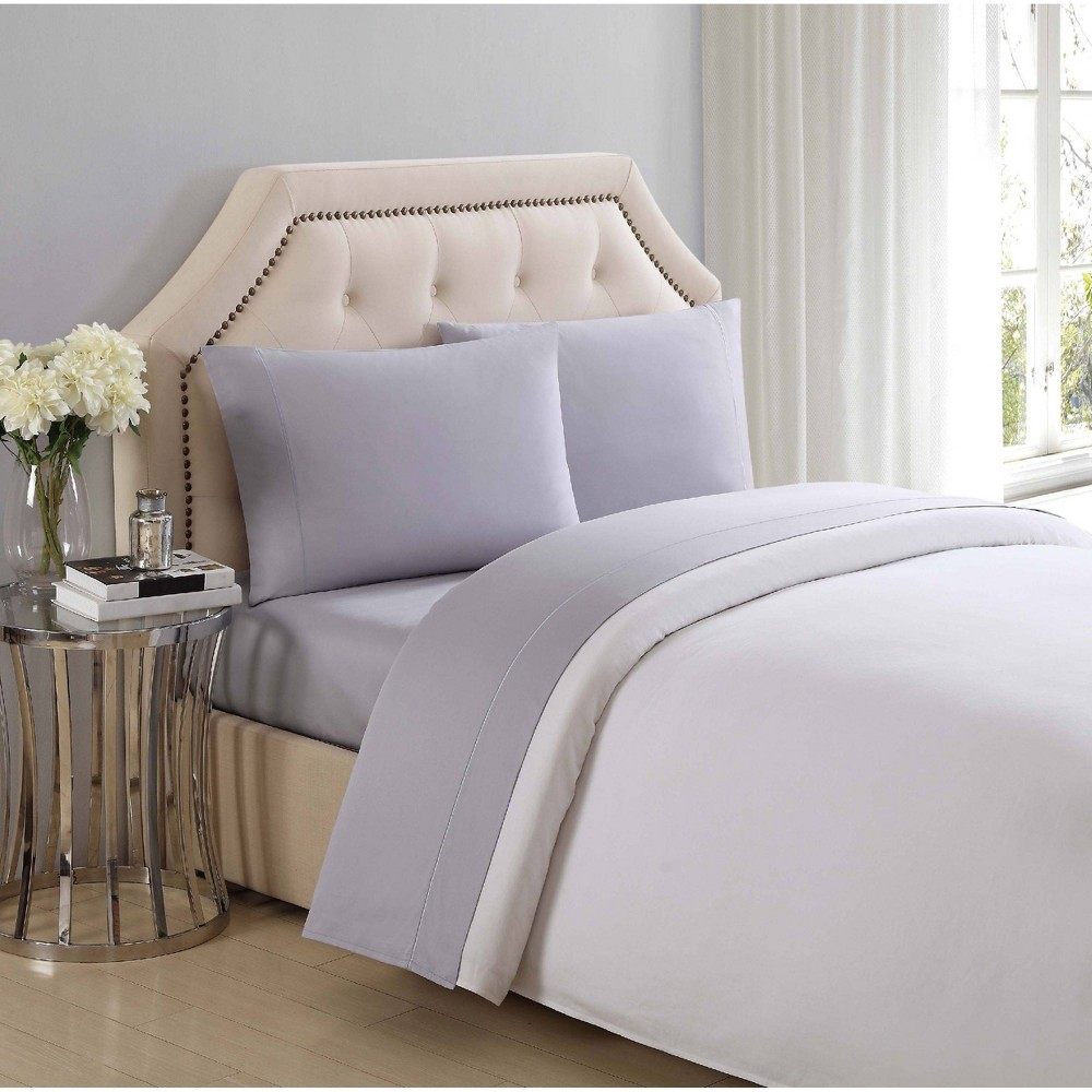 Image of California King 310 Thread Count Solid Cotton Sheet Set Rain - Charisma