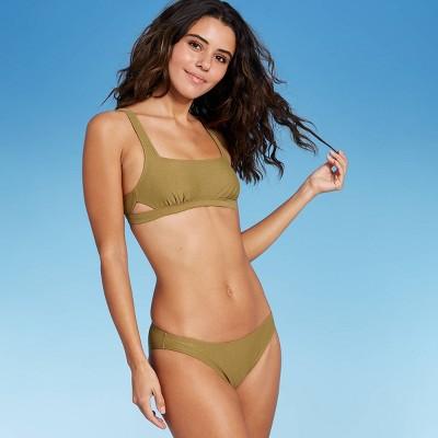 Juniors' Metallic Bralette Bikini Top - Xhilaration™ Army Green