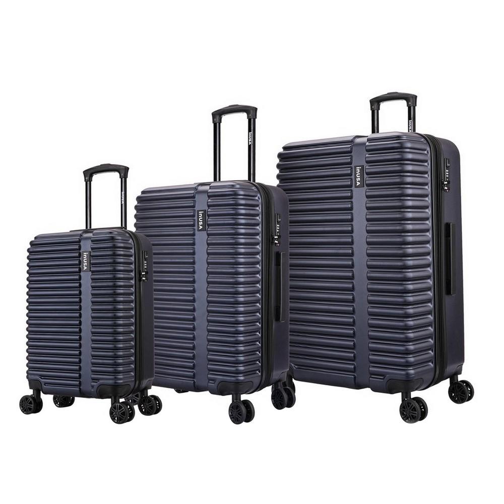 Image of InUSA Ally Lightweight Hardside Spinner 3pc Luggage Set - Navy Blue