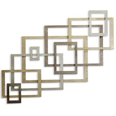 31.75  Square Metal Decorative Wall Art Gold - StyleCraft