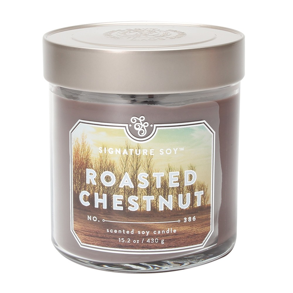 15.2oz Large Jar 2-Wick Candle Roasted Chestnut - Signature Soy, Brown