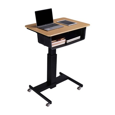 """28"""" Height Adjustable Mobile School Standing Desk with Book Box Natural - Rocelco"""