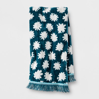 Sheered Floral Fringed Hand Towel Teal Green - Opalhouse™