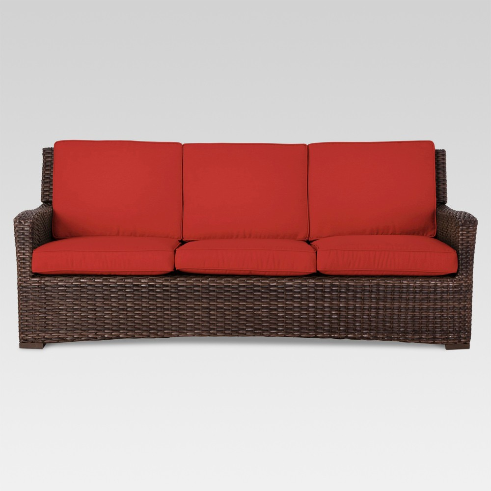Halsted Wicker Patio Sofa - Red - Threshold