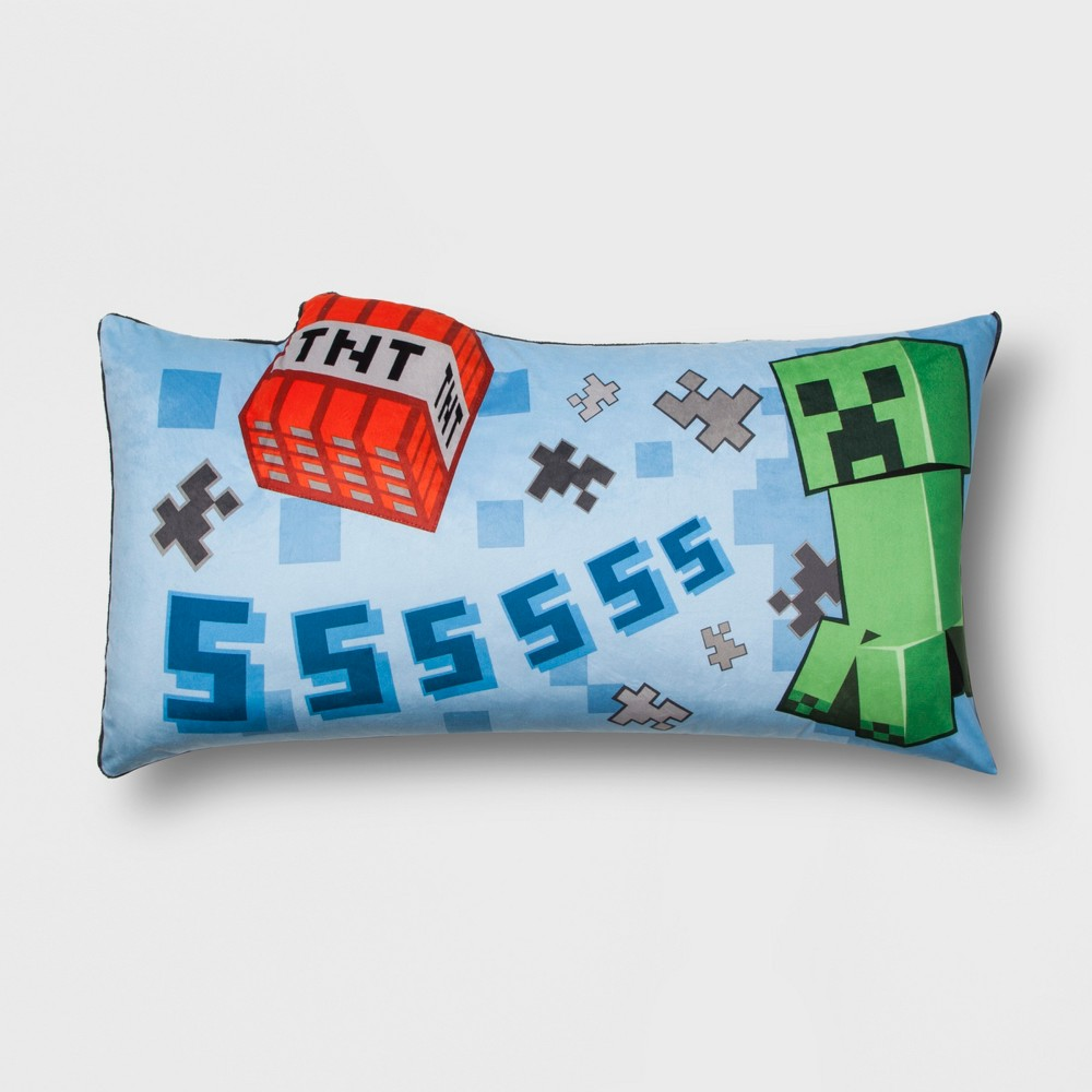 Image of Minecraft Creeper Throw Pillow Blue